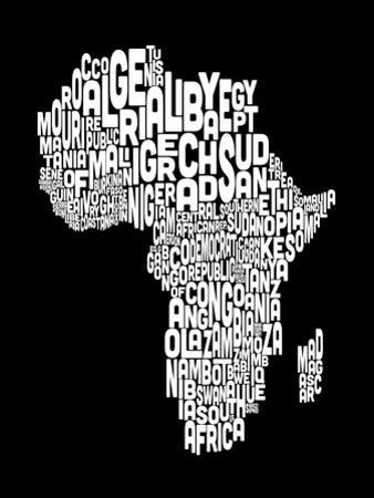 Map of Africa Map, Text Art by Michael Tompsett