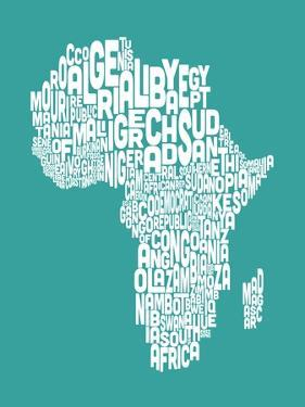 Map of Africa Map, Text Art by Michael Tompsett