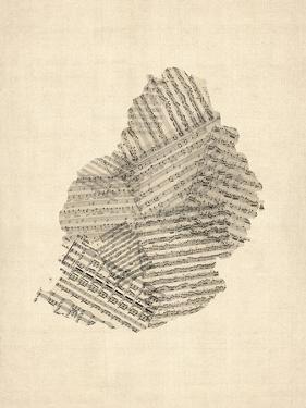Mauritius Old Sheet Music Map by Michael Tompsett