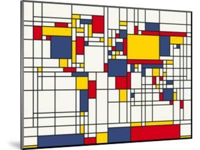 Mondrian Abstract World Map by Michael Tompsett
