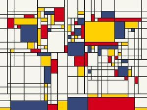Mondrian Abstract World Map by Michael Tompsett