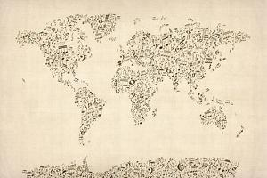Music Notes Map of the World Map by Michael Tompsett