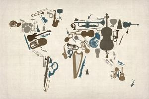 Musical Instruments Map of the World by Michael Tompsett
