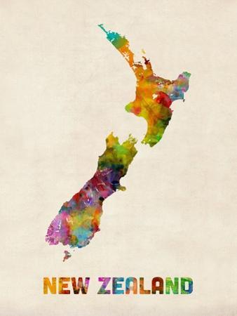 New Zealand, Watercolor Map by Michael Tompsett