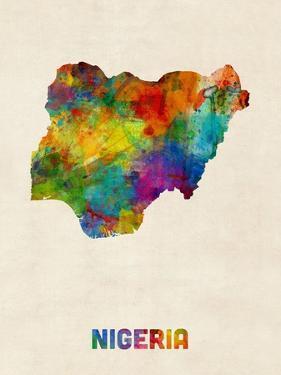 Nigeria Watercolor Map by Michael Tompsett