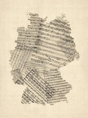 Old Sheet Music Map of Germany Map by Michael Tompsett