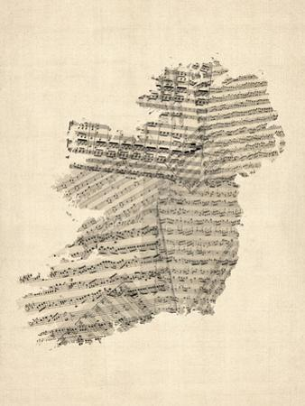 Old Sheet Music Map of Ireland Map by Michael Tompsett