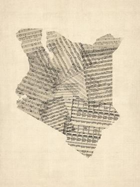 Old Sheet Music Map of Kenya Map by Michael Tompsett