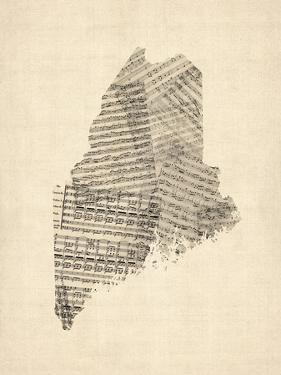 Old Sheet Music Map of Maine by Michael Tompsett
