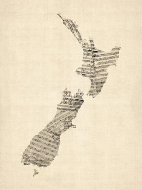 Old Sheet Music Map of New Zealand Map by Michael Tompsett