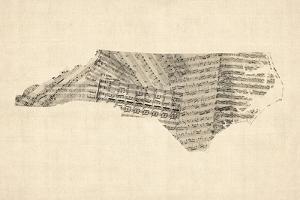 Old Sheet Music Map of North Carolina by Michael Tompsett