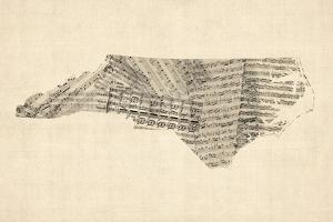 Old Sheet Music Map of North Carolina by Michael Tompsett
