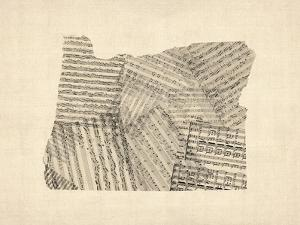 Old Sheet Music Map of Oregon by Michael Tompsett