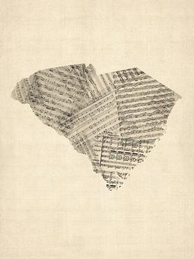 Old Sheet Music Map of South Carolina by Michael Tompsett