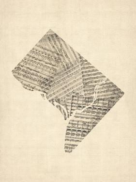 Old Sheet Music Map of Washington DC by Michael Tompsett