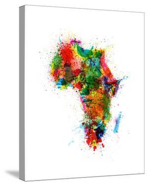 Paint Splashes Map of Africa Map by Michael Tompsett