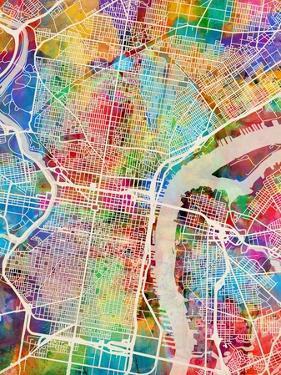 Philadelphia Pennsylvania Street Map by Michael Tompsett