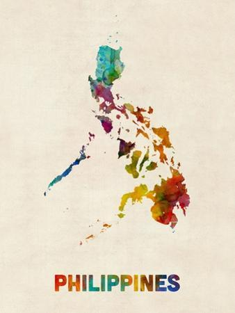 Philippines Watercolor Map by Michael Tompsett