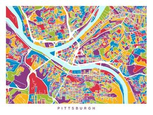 Pittsburgh Pennsylvania Street Map by Michael Tompsett