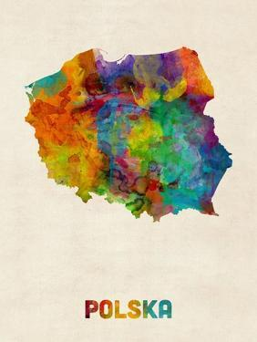 Poland Watercolor Map by Michael Tompsett