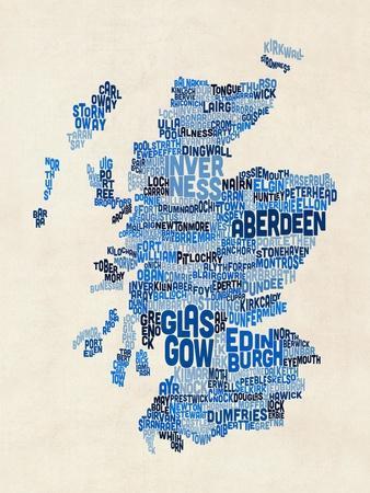 Scotland Typography Text Map