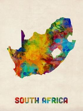 South Africa Watercolor Map by Michael Tompsett