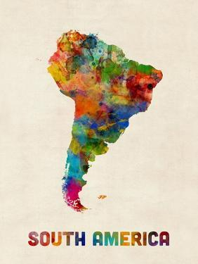 South America Watercolor Map by Michael Tompsett