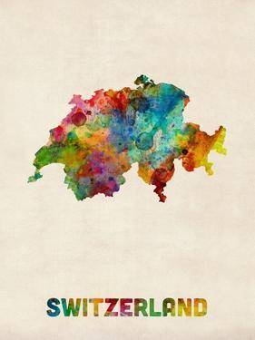 Switzerland Watercolor Map by Michael Tompsett
