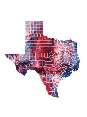 Texas Watercolor Map by Michael Tompsett