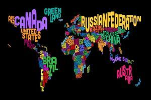 Text Map of the World Map by Michael Tompsett