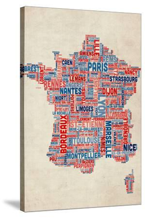 Typography Text Map of France Map by Michael Tompsett