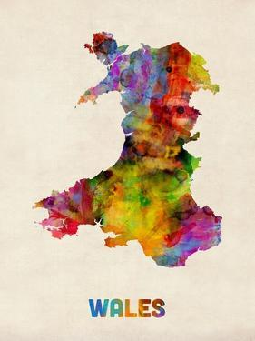 Wales Watercolor Map by Michael Tompsett