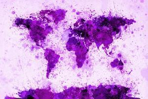 World Map Paint Splashes Purple by Michael Tompsett