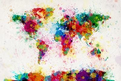 World Map Paint Splashes by Michael Tompsett