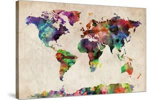 World Map Urban Watercolour by Michael Tompsett
