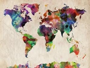 World Map Urban Watercolour by Michael Tompsett