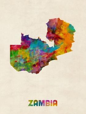 Zambia Watercolor Map by Michael Tompsett