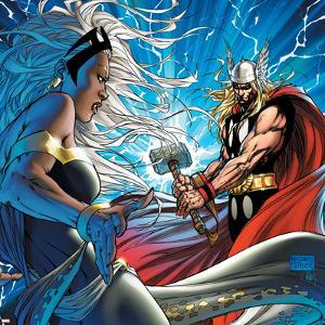 Black Panther No.25 Cover: Thor and Storm by Michael Turner