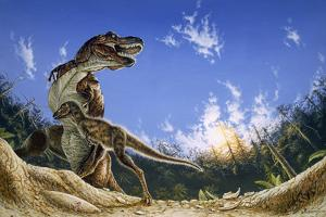 Illustration of a Tyrannosaurus Rex with its Feathered Hatchling by Michael W. Skrepnick