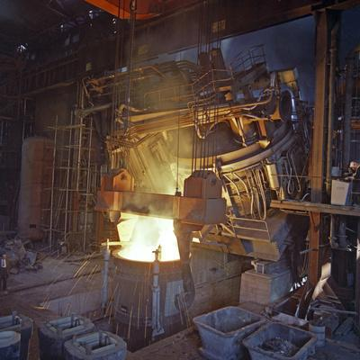 75 Ton Arc Furnace Pouring Molten Steel into a Vessel, Sheffield, South Yorkshire, 1969