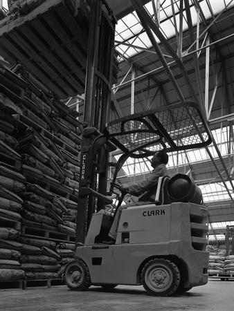 A Clark Forklift Truck, Spillers Animal Foods, Gainsborough, Lincolnshire, 1962