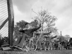 Archery Practice at the Ciswo Paraplegic Centre, Pontefract, West Yorkshire, 1960 by Michael Walters