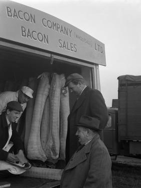 Buying Wholesale Meat from a Danish Bacon Company Lorry, Barnsley, South Yorkshire, 1961 by Michael Walters