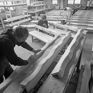 Carpenters Working on Church Pews at a Small Carpentry Workshop, South Yorkshire, 1969 by Michael Walters