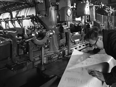 Checking Printed Pages from a Two Colour Press, Mexborough, South Yorkshire, 1959