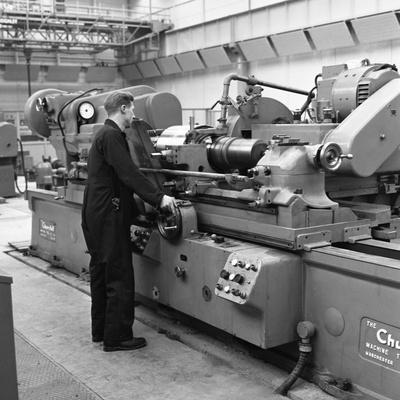 Churchill Lathe in Use, Park Gate Iron and Steel Co, Rotherham, South Yorkshire, 1964