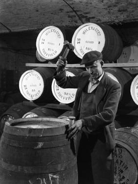 Coopering, Making Whiskey Barrels at Wiley and Co, Sheffield, South Yorkshire, 1961 by Michael Walters