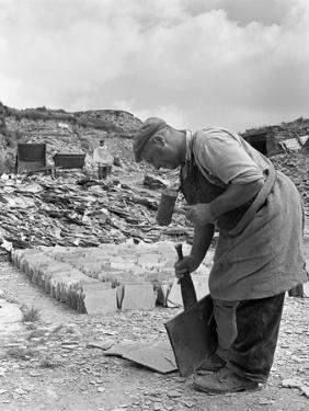 Dressing Slate at Trebarwith Slate Quarry, Cornwall, 1959 by Michael Walters