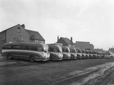 Fleet of Phillipsons Coaches, Goldthorpe, South Yorkshire, 1963