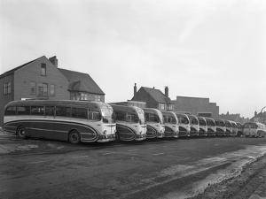Fleet of Phillipsons Coaches, Goldthorpe, South Yorkshire, 1963 by Michael Walters